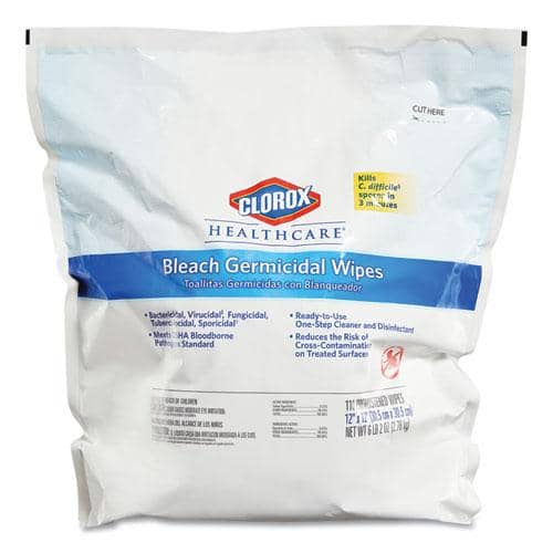 Clorox Healthcare Bleach Germicidal Wipes, 12 x 12, Unscented, 110/Refill, 2/Carton w/ Heavy Duty Plastic Wet Wipe Dispenser Bucket w/ Pop-Up Plug on Lid, 1/Carton - CLO30359CT - TotalRestroom.com