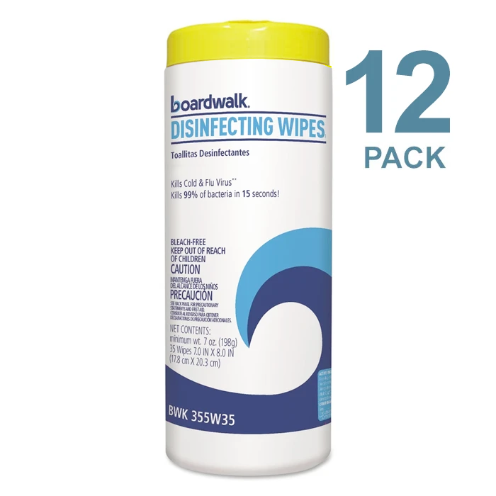 Boardwalk Disinfecting Wipes, Kills COVID-19 Virus, Lemon Scent, 35 Wipes/Pack, 12 Packs/Case - BWK455W35