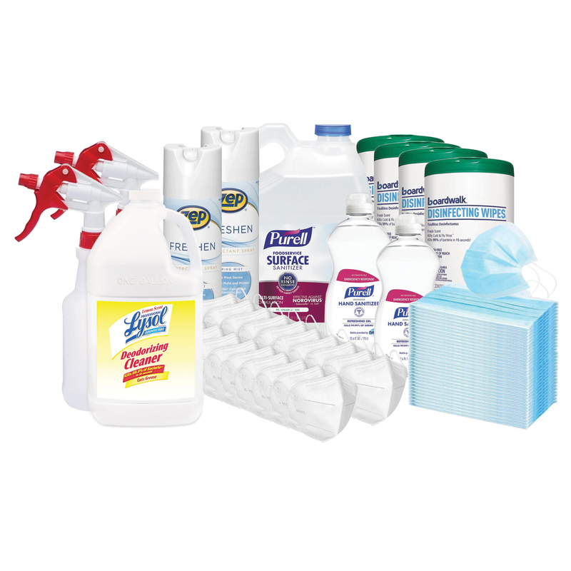 Business Protection Pack w/ Purell Surface Sanitizer, Lysol Disinfectant Cleaner, Boardwalk Disinfecting Wipes, Face Masks & More