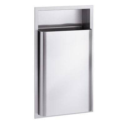 "Bradley 346-10 Commercial Restroom Waste Receptacle, 12 Gallon, Semi-Recessed-Mounted, 15-5/8"" W x 29-1/8"" H, 4"" D, Stainless Steel"