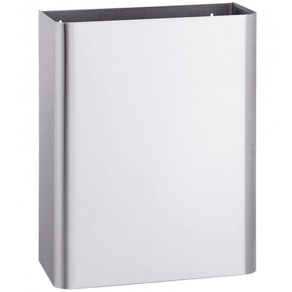 "Bradley 3565-00 Commercial Restroom Waste Receptacle, 12 Gallon, Surface-Mounted, 18"" W x 23"" H, 6-3/4"" D, Stainless Steel"