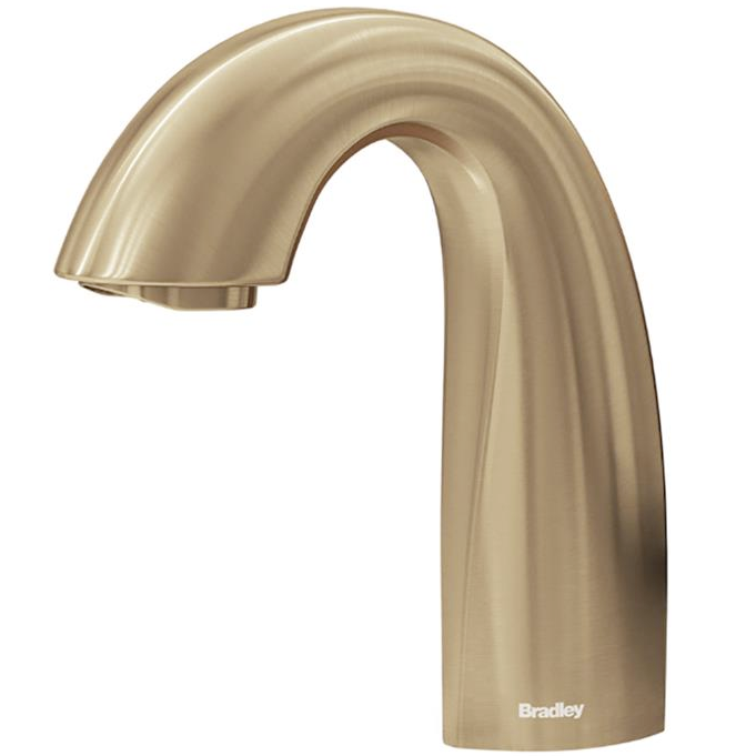 Bradley - S53-3100-RL3-BR - Touchless Counter Mounted Sensor Faucet, .35 GPM, Brushed Brass, Crestt Series
