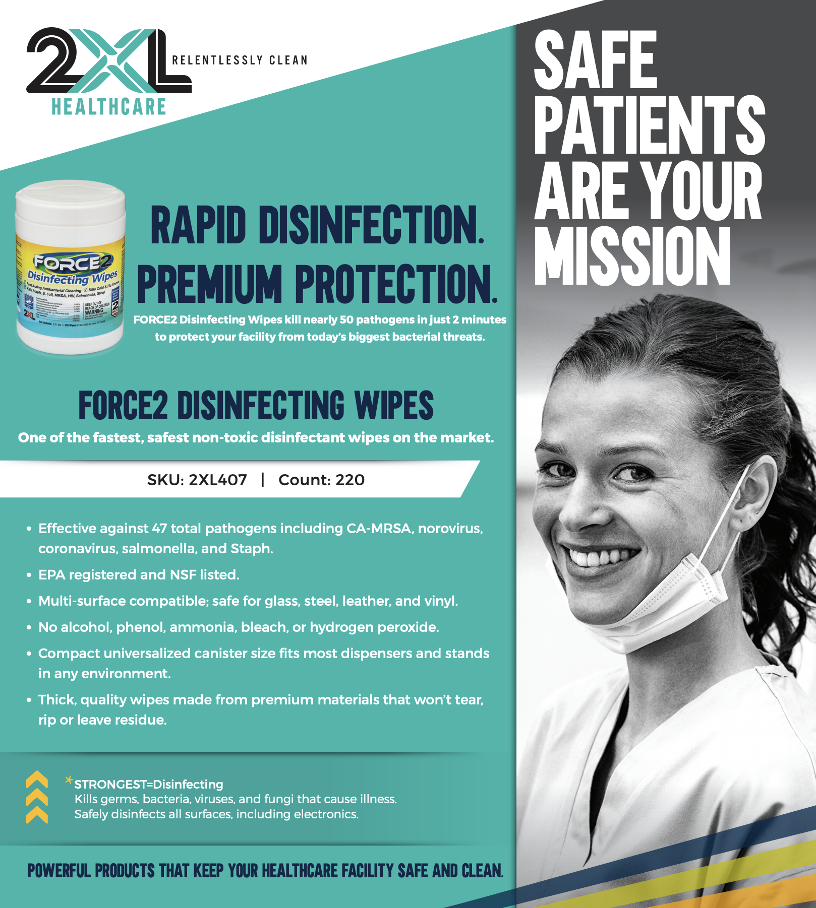 2XL Force2 Medical Grade Disinfecting Wipes, 220 Wipes/Canister, 6 Canisters/Case
