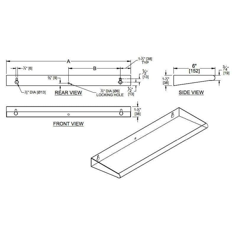 "ASI 20692-630 Commercial Restroom Shelf, 6"" D x 30"" L, Roval-Surface-Mounted, Stainless Steel - TotalRestroom.com"