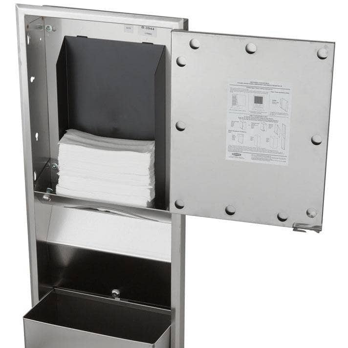 Bobrick B-3944 Combination Commercial Paper Towel Dispenser/Waste Receptacle, Recessed-Mounted, Stainless Steel - TotalRestroom.com