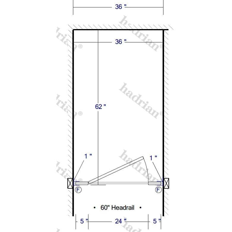 "Hadrian Toilet Partition, 1 Between Wall Compartment, Stainless Steel, 36""W x 61 1/4""D - BW13660-SS-HADRIAN - TotalRestroom.com"