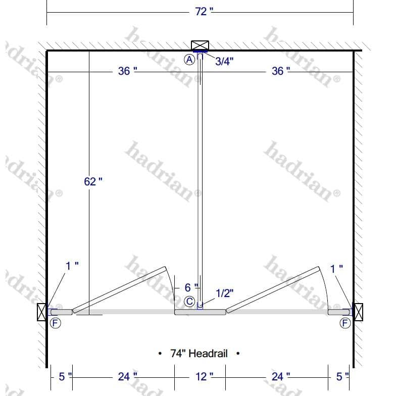 "Hadrian Toilet Partition, 2 Between Wall Compartments, Plastic, 72""W x 61-1/4""D - BW23660-PL-HADRIAN - TotalRestroom.com"