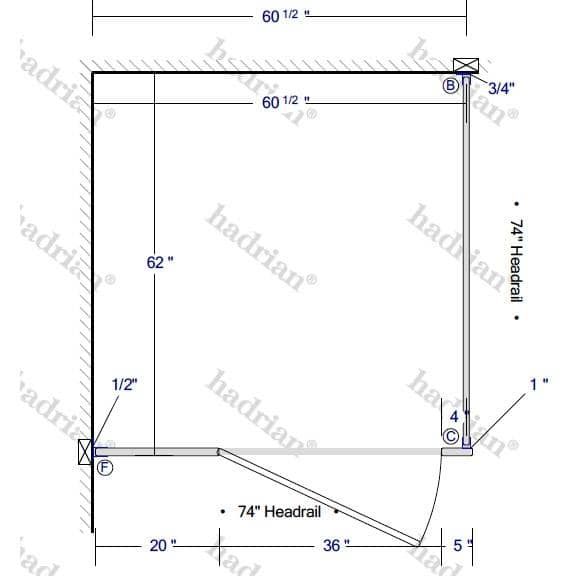 "Hadrian Toilet Partition, 1 ADA In Corner Compartment, Stainless Steel, 60""W x 61 1/4""D - ICADA-SS-HADRIAN - TotalRestroom.com"