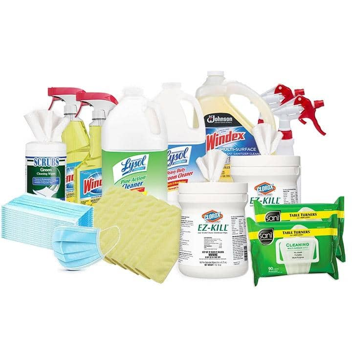 COVID Mega Kit w/ Clorox Wipes, Lysol, Windex Disinfectant Spray, Sani Isopropyl Alcohol Wipes, Disposable Face Masks and More - TotalRestroom.com