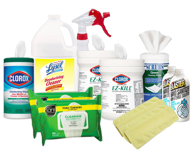 Clorox Wipes Starter Kit 3.0 w/ Hand Sanitizer, Disinfectant Wipes, Lysol Disinfectant Deodorizing Concentrate, Spray Bottles & Microfiber Cloths - WSK-7 - TotalRestroom.com