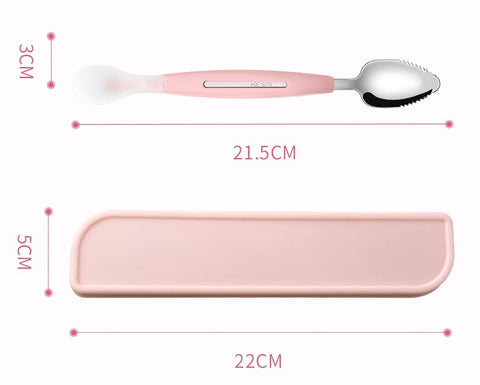 Baby Stainless Steel Double-Ended Fruit Mash Scraper Spoon