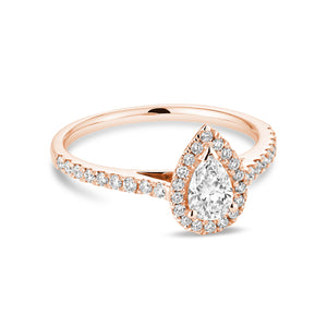Hemsleys Collection 14K Pear Shape Diamond Engagement Ring with Pear Shape Halo