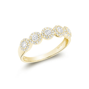 Hemsleys Collection 14K Five Stone Diamond Halo Band