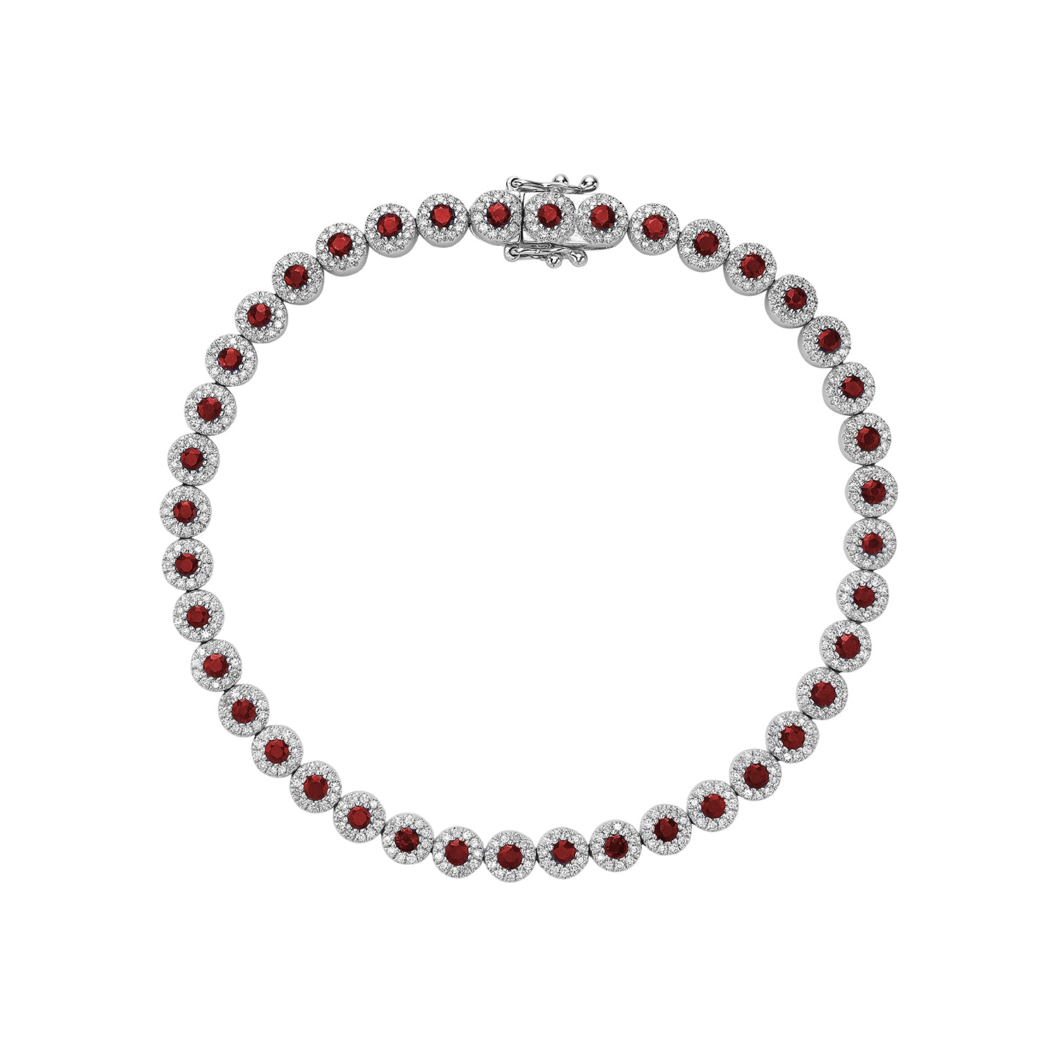 Hemsleys Collection 14KW Round Ruby & Diamond Round Halo Tennis Bracelet