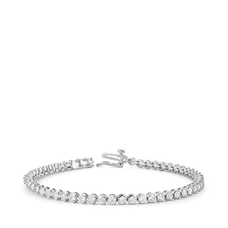 Hemsleys Collection 14K Three-Prong Round Diamond Tennis Bracelet