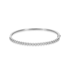 Hemsleys Collection 14K Bezel Set Vintage Straight Line Diamond Bangle