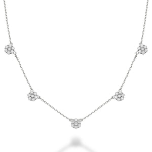 Hemsleys Collection 14K Flower Illusion Set 5 Station Round Diamond Necklace
