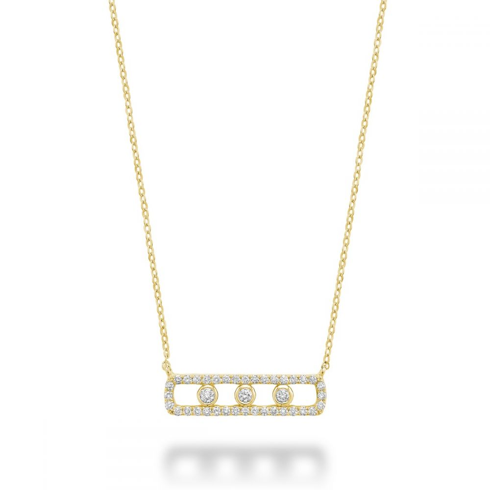 Hemsleys Collection 14K Open Straight Diamond Bar Necklace