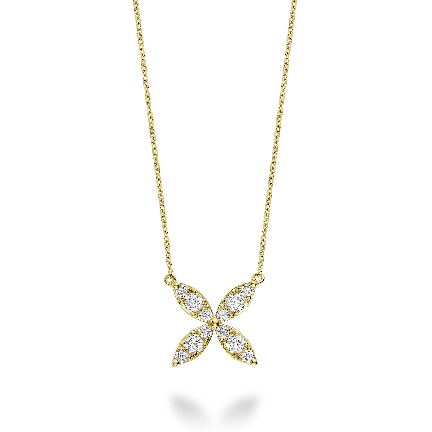Hemsleys Collection 14K Marquise Shape Round Diamond Petal Necklace