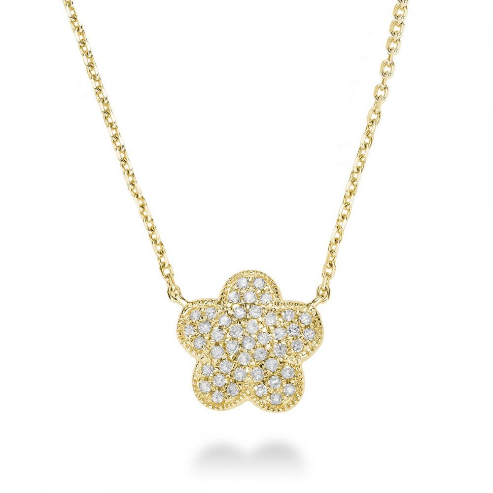 Hemsleys Collection 14K Diamond Flower Pavé Necklace