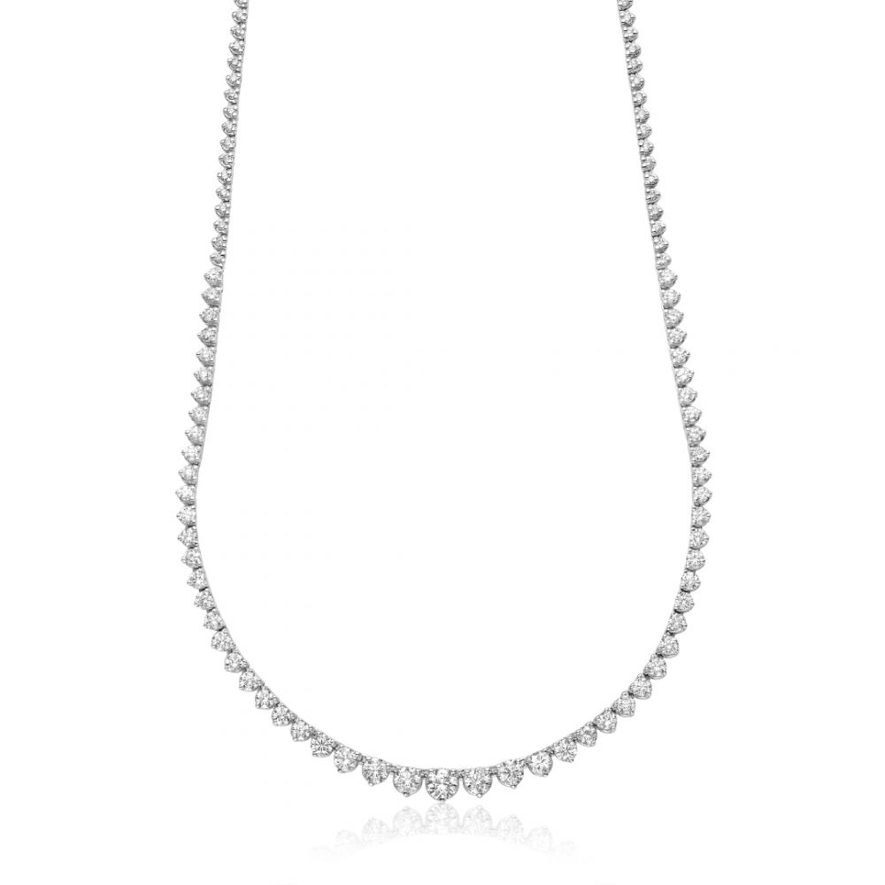 Hemsleys Collection 14K Round Diamond 3-Prong Graduated Tennis Necklace