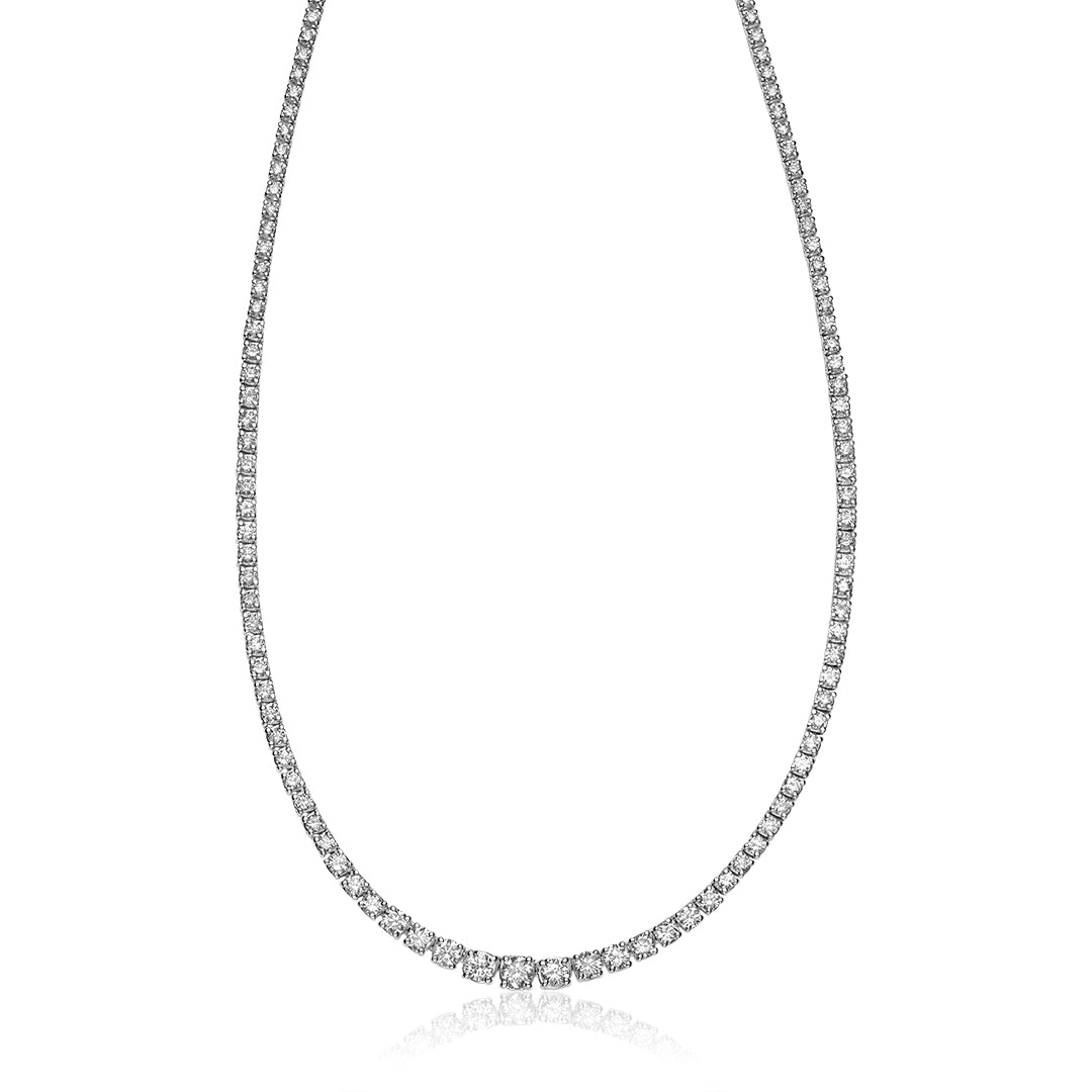 Hemsleys Collection 14K Round Diamond 4-Prong Graduated Tennis Necklace