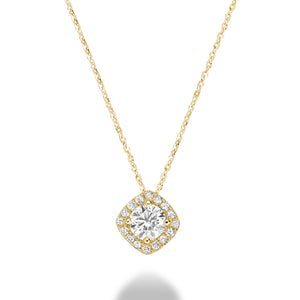 Hemsleys Collection 14k Round Diamond Cushion Halo Pendant