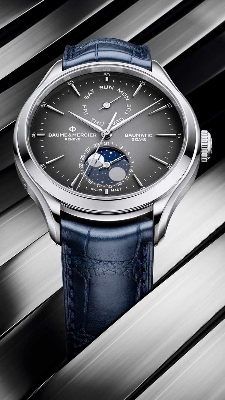 Baume Et Mercier Clifton Baumatic Day Date Moonphase Automatic (Grey Dial / 42mm)