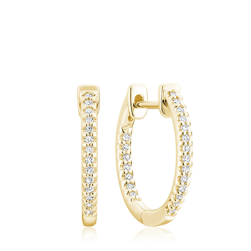 Hemsleys Collection 14k Diamond Inside/Out Huggy Hoop Earrings