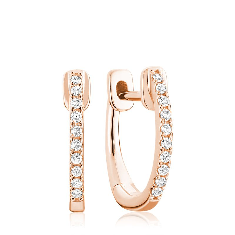 Hemsleys Collection 14k Diamond Mini Huggy Hoop Earrings