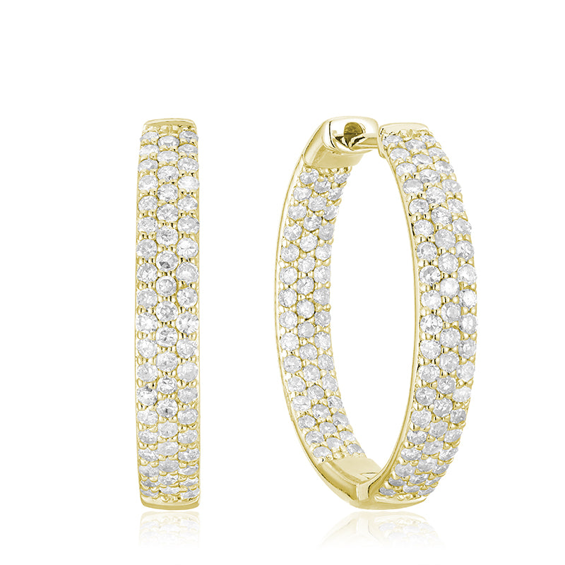 Hemsleys Collection 14K Inside/Out Diamond Pavé Three-Row Hoop Earrings