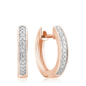 Hemsleys Collection 14k Diamond Mini Huggy Hoop Channel Set Earrings
