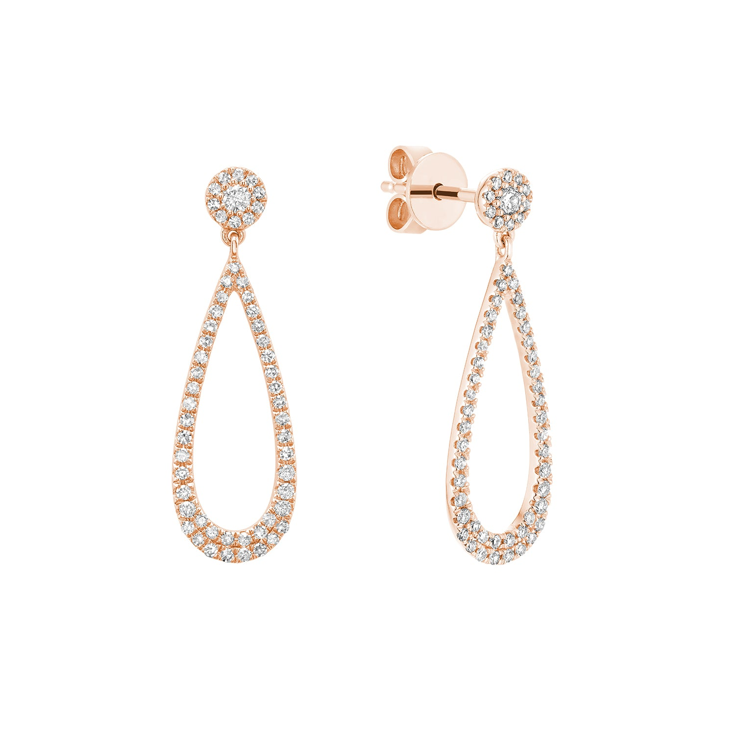 Hemsleys Collection 14K Diamond Open Teardrop Earrings