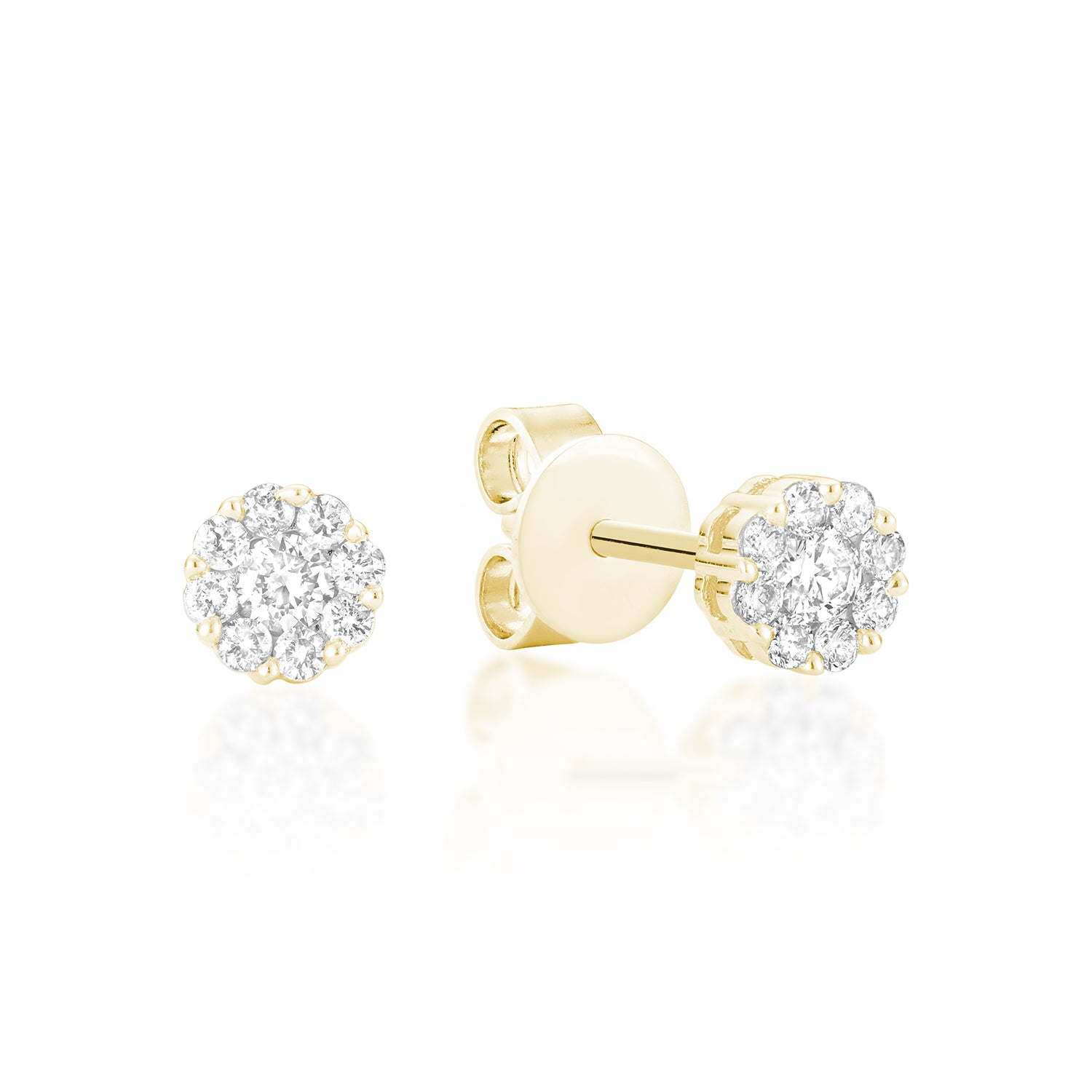 Hemsleys Collection 14K Cluster Illusion Set Diamond Stud Earrings