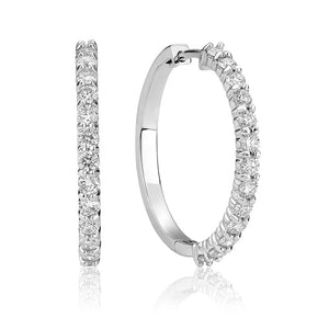 Hemsleys Collection 14k Diamond Shared Prong Hoop Earrings