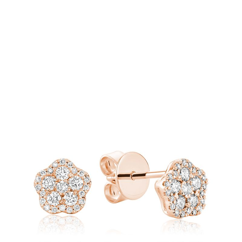 Hemsleys Collection 14K Diamond Flower Illusion Set Diamond Halo Stud Earrings