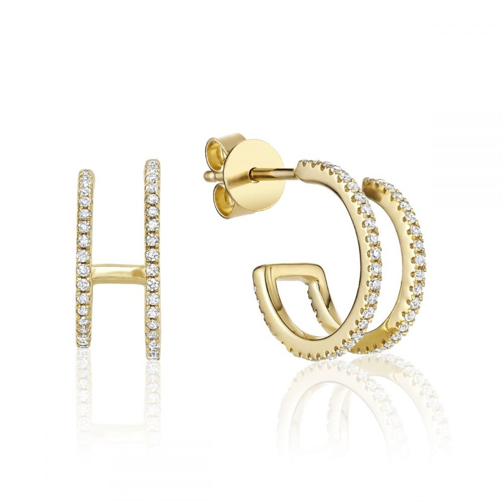 Hemsleys Collection 14K Diamond Double Hoop Earrings