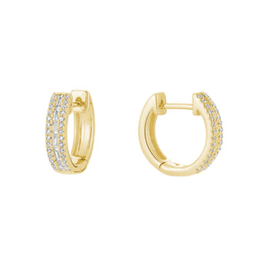 Hemsleys Collection 14K Baguette & Round Diamond Mini Huggy Hoop Earrings
