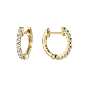 Hemsleys Collection 14k Diamond Shared Prong U-Shape Huggy Earrings