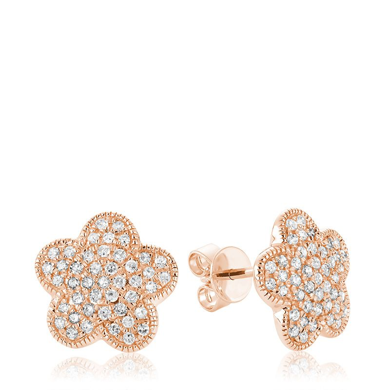 Hemsleys Collection 14K Diamond Flower Pavé Stud Earrings