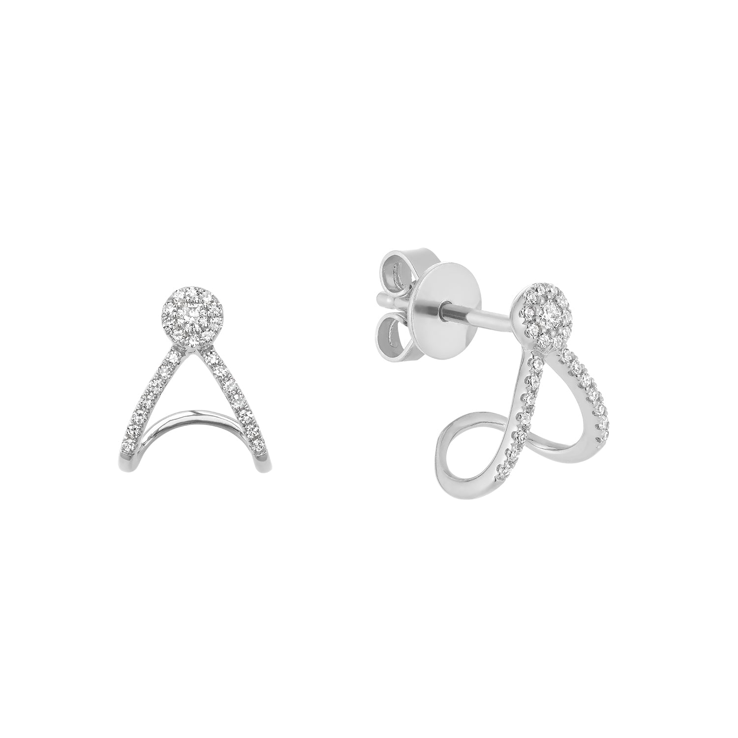 Hemsleys Collection 14K Diamond Double Wrap Mini Huggy Hoop Earrings
