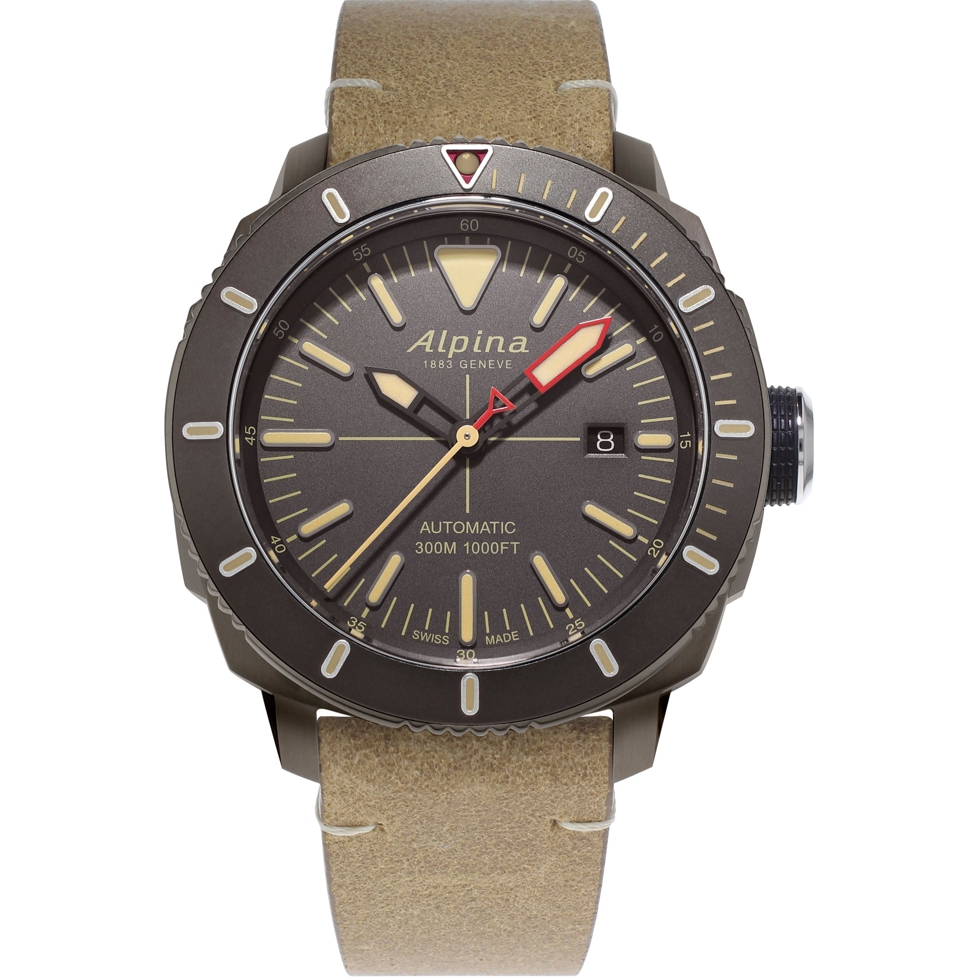 Alpina Seastrong Diver 300 Automatic (Grey Dial / 44mm / Tan)
