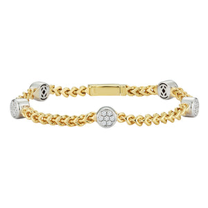 Hemsleys Collection 14K Diamond Five Round Station & Chain Link Bracelet