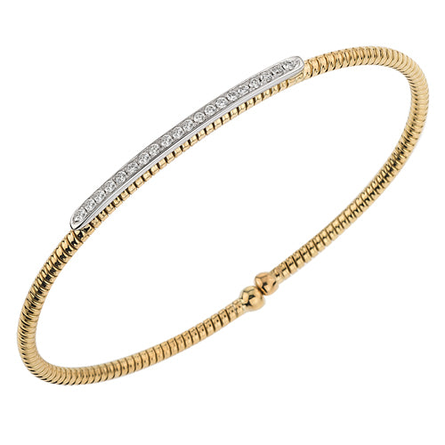 Hemsleys Collection 18K Diamond Bar Coil Bangle