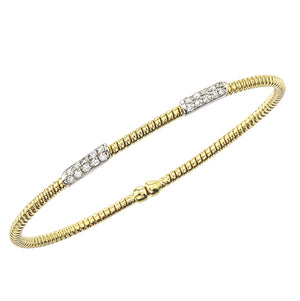 Hemsleys Collection 18K Dainty Diamond Double Bar Station Bangle