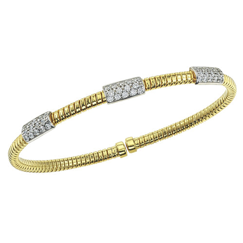 Hemsleys Collection 18K Diamond Triple Bar Station Bangle
