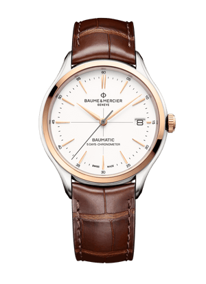 Baume Et Mercier Clifton Baumatic Automatic (White Dial / 40mm / 18k Rose Gold Bezel)