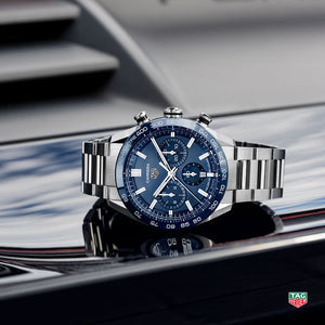 TAG Heuer Carrera Heuer 02 Automatic Chronograph (Blue Dial / 44mm)