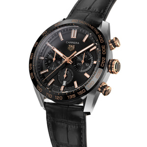 TAG Heuer Carrera Heuer 02 Automatic Chronograph (Black Dial / 44mm / Rose Gold Accents)