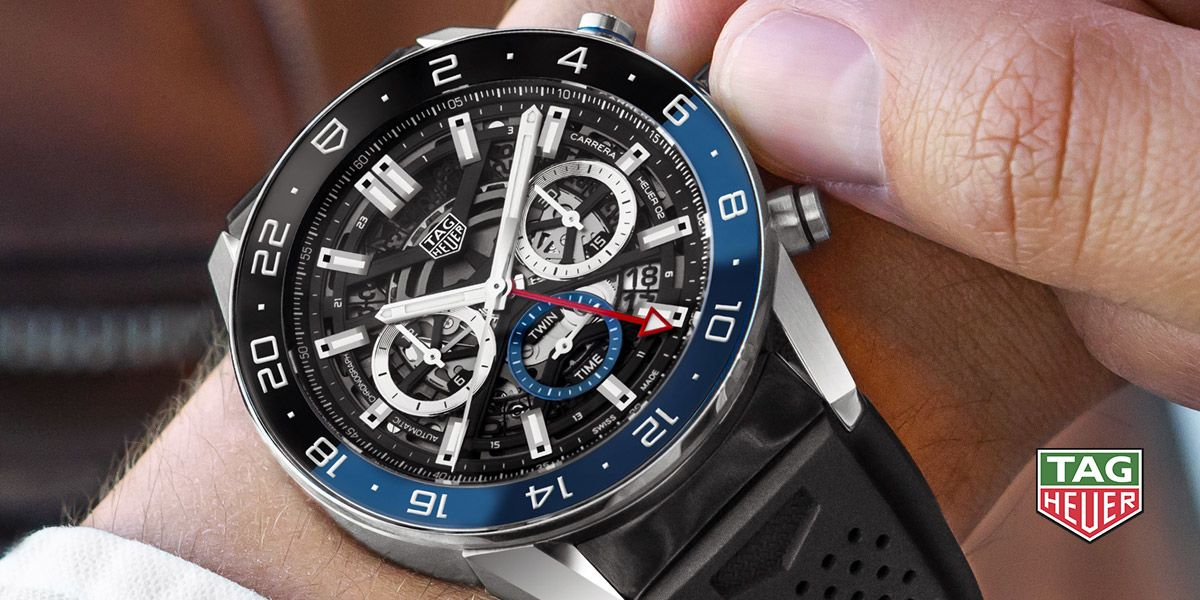 TAG Heuer Carrera Heuer 02 Automatic Chronograph GMT (Black Dial / 45mm / Rubber)
